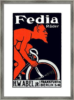 1920 Devil Riding A Bicycle Framed Print by Historic Image