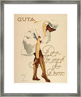 1920 - Guta Stockings Advertisement - Ludwig Hohlwein - Color Framed Print