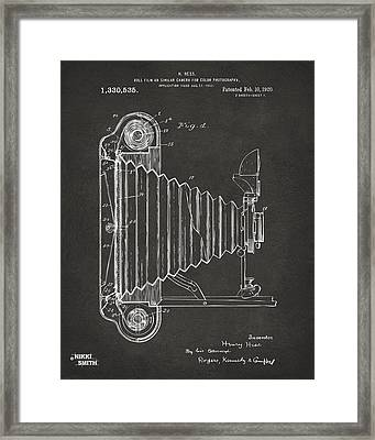 1920 Hess Camera Patent Artwork - Gray Framed Print by Nikki Marie Smith