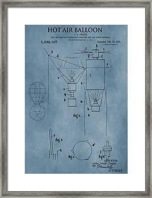 1920 Hot Air Balloon Patent Blue Framed Print