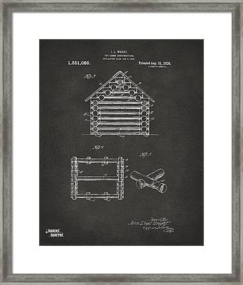 1920 Lincoln Log Cabin Patent Artwork - Gray Framed Print by Nikki Marie Smith