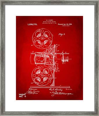 1920 Motion Picture Machine Patent Red Framed Print