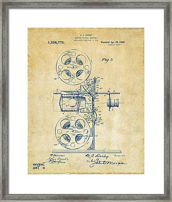 1920 Motion Picture Machine Patent Vintage Framed Print