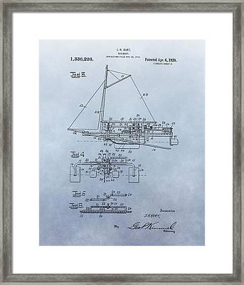 1920 Sailboat Patent Framed Print by Dan Sproul