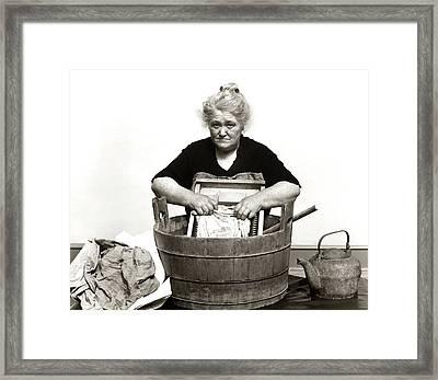 1920s 1930s 1940s Senior Woman Washing Framed Print
