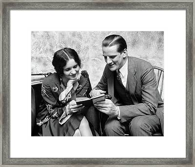 1920s 1930s Couple Reading Sharing Book Framed Print