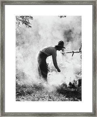 1920s 1930s Man Anonymous Cowboy Cook Framed Print