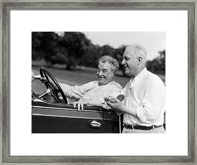 1920s 1930s Senior Man Sitting Driving Framed Print