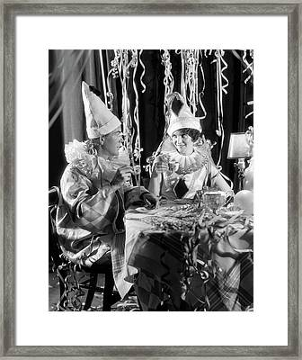 1920s 1930s Smiling Couple Drinking Framed Print