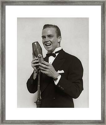 1920s 1930s Smiling Man Radio Singer Framed Print