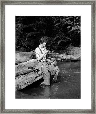 1920s 1930s Woman Sitting On Rock Framed Print