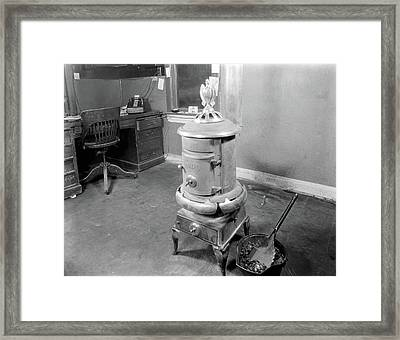 1920s Coal Stove Heater In Business Framed Print