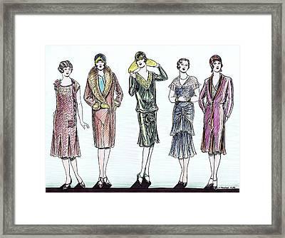 1920s Fashions Framed Print by Mel Thompson
