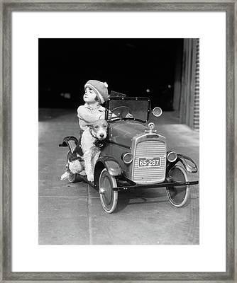 1920s Girl In Toy Pedal Car With Dog Framed Print