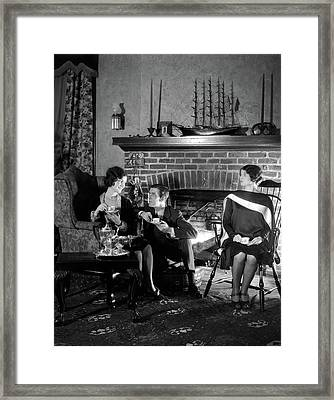 1920s Man Sitting Between Two Women Framed Print