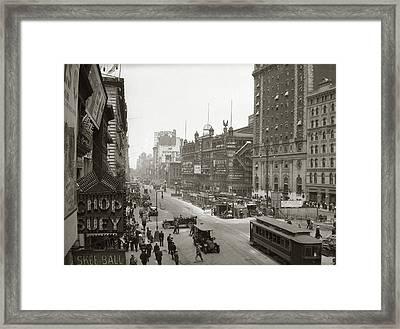1920s Overhead Sixth Avenue Hippodrome Framed Print