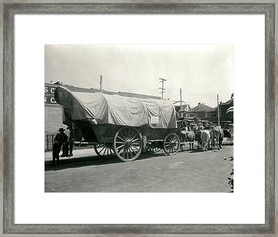 1920s Ox Drawn Conestoga Covered Wagon Framed Print