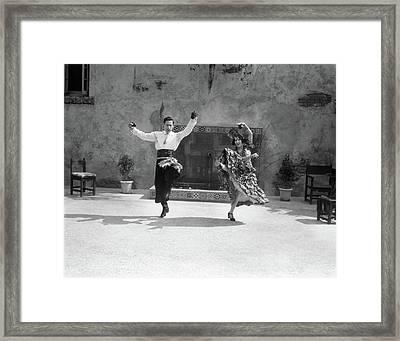 1920s Smiling Couple Dressed In Spanish Framed Print