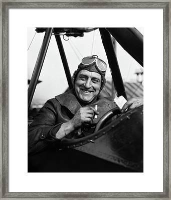 1920s Smiling Man Pilot In Cockpit Framed Print