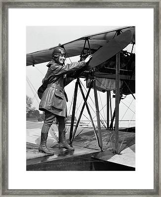 1920s Smiling Woman Aviator Turning Framed Print