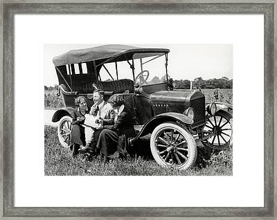 1920s Two Women & One Man Sitting Framed Print