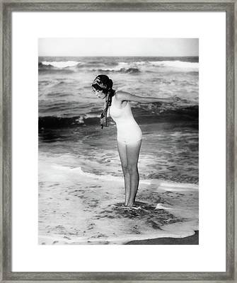 1920s Woman Wearing Bathing Suit & Head Framed Print