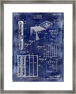 1921 Cigar Package Patent Drawing Blue Framed Print