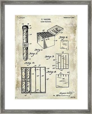 1921 Cigar Package Patent Drawing  Framed Print by Jon Neidert
