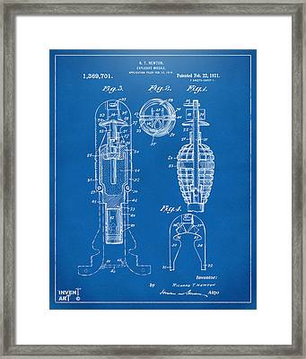 1921 Explosive Missle Patent Blueprint Framed Print by Nikki Marie Smith