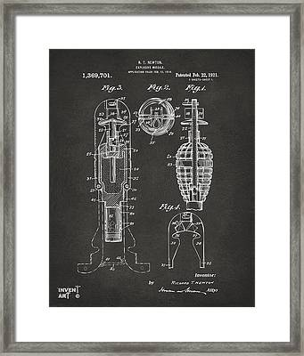 1921 Explosive Missle Patent Gray Framed Print