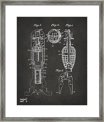 1921 Explosive Missle Patent Minimal Gray Framed Print
