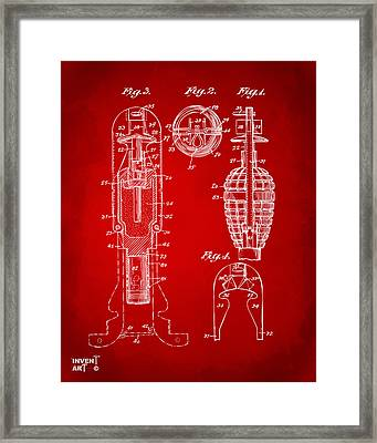 1921 Explosive Missle Patent Minimal Red Framed Print by Nikki Marie Smith
