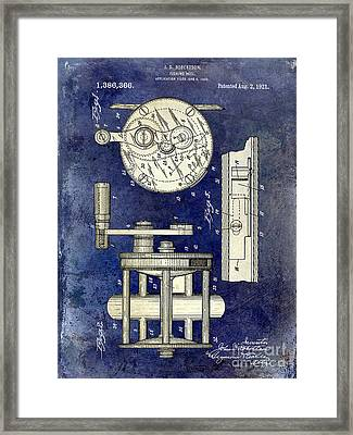 1921 Fishing Reel Patent Drawing 2 Tone Blue Framed Print