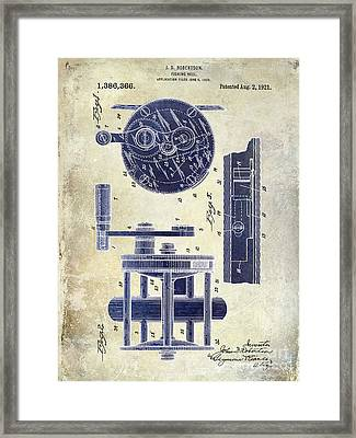 1921 Fishing Reel Patent Drawing 2 Tone Framed Print