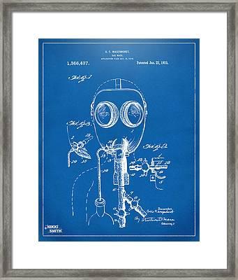 1921 Gas Mask Patent Artwork - Blueprint Framed Print