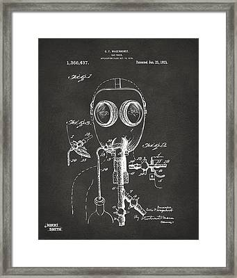 1921 Gas Mask Patent Artwork - Gray Framed Print by Nikki Marie Smith