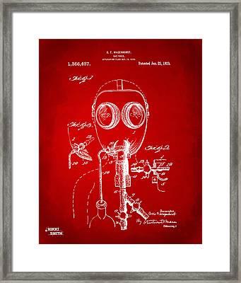 1921 Gas Mask Patent Artwork - Red Framed Print