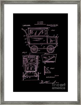 1921 Kilmer Patent Baby Carriage-inverted Pink Framed Print by Lesa Fine