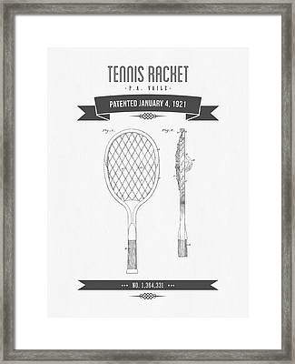 1921 Tennis Racket Patent Drawing - Retro Gray Framed Print by Aged Pixel