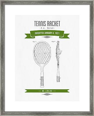 1921 Tennis Racket Patent Drawing - Retro Green Framed Print by Aged Pixel