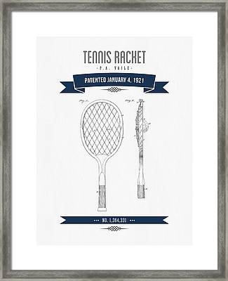 1921 Tennis Racket Patent Drawing - Retro Navy Blue Framed Print by Aged Pixel