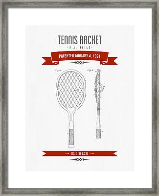 1921 Tennis Racket Patent Drawing - Retro Red Framed Print by Aged Pixel
