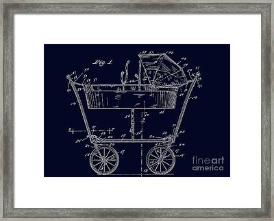 1922 Baby Carriage Patent Art Blueprint Framed Print by Lesa Fine