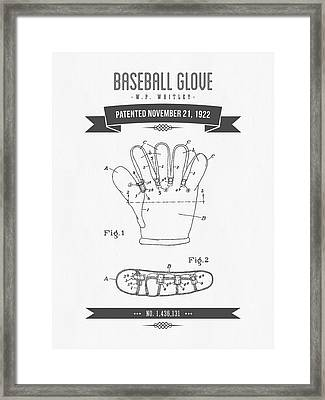 1922 Baseball Glove Patent Drawing Framed Print by Aged Pixel