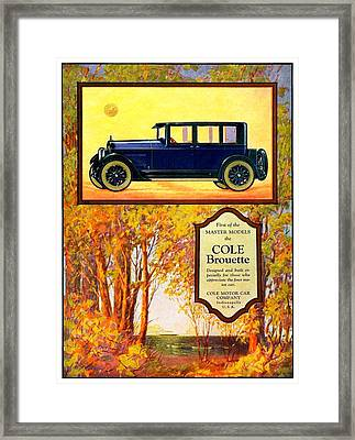1923 - Cole Brouette Automobile Advertisement - Color Framed Print