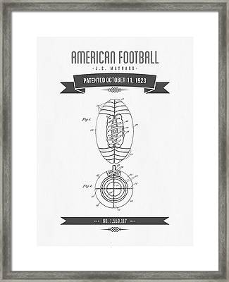 1923 American Football Patent Drawing - Retro Gray Framed Print by Aged Pixel
