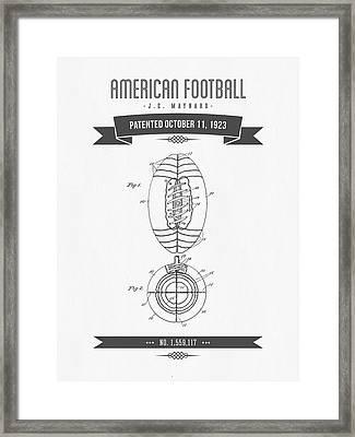 1923 American Football Patent Drawing - Retro Gray Framed Print