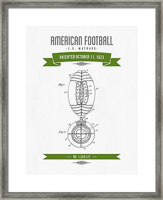 1923 American Football Patent Drawing - Retro Green Framed Print by Aged Pixel