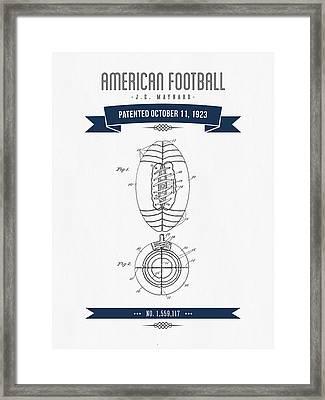 1923 American Football Patent Drawing - Retro Navy Blue Framed Print