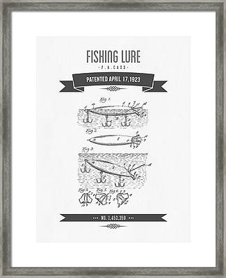 1923 Fishing Lure Patent Drawing Framed Print by Aged Pixel
